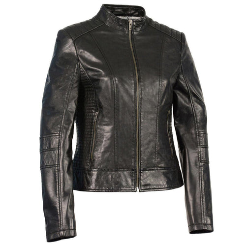 Milwaukee Leather SFL2860 Women's Zip Front Stand Up Collar Black Leather Jacket