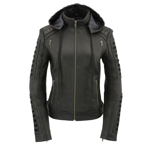 Milwaukee Leather SFL2865 Women's Black Hooded Scuba Leather Jacket