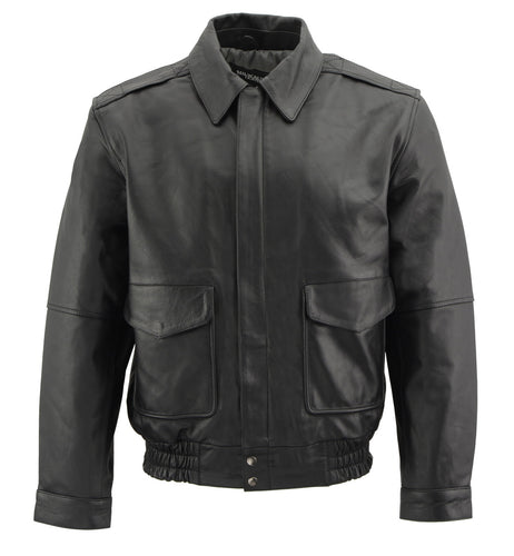 Milwaukee Leather SFM1519 Men's Classic Black Bomber Leather Jacket