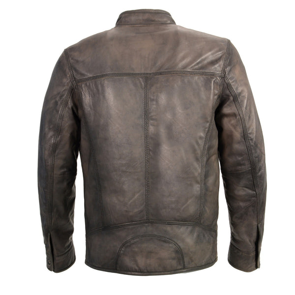 Milwaukee Leather SFM1800 Men's 'Café Racer' Anthracite Lambskin Leather Jacket