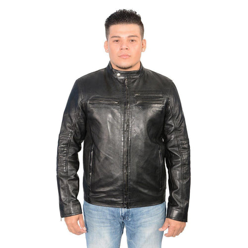 Milwaukee Leather SFM1805 Men's Black Side Stitch Cafe Racer Lambskin Leather Jacket