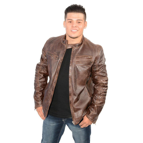 Milwaukee Leather SFM1805 Men's Brown Side Stitch Cafe Racer Lambskin Leather Jacket