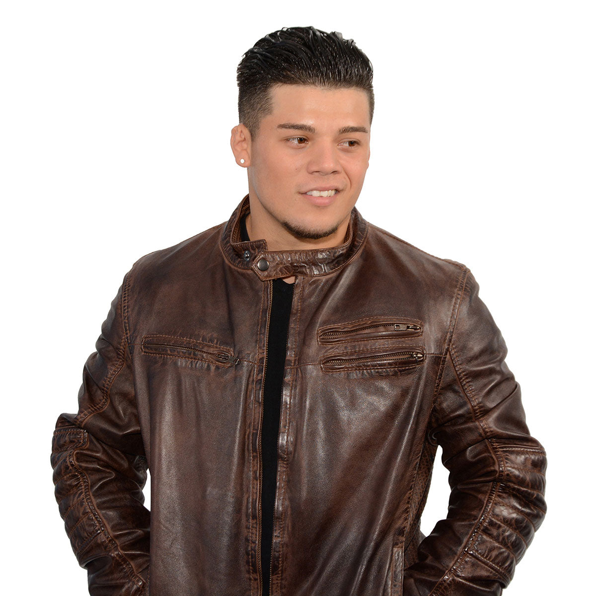 Milwaukee Leather SFM1805 Men's Brown Side Stitch Cafe Racer Lambskin