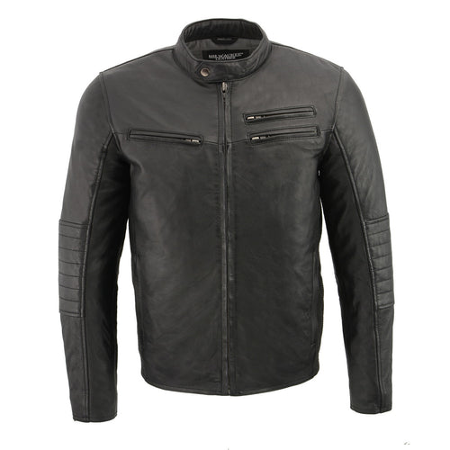 Milwaukee Leather SFM1806 Men's Black Euro Collar Café Leather Jacket