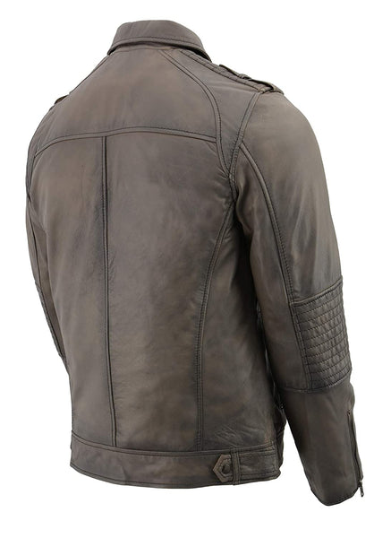 Milwaukee Leather SFM1810 Men's Anthracite Patch Pocket Lambskin Leather Jacket