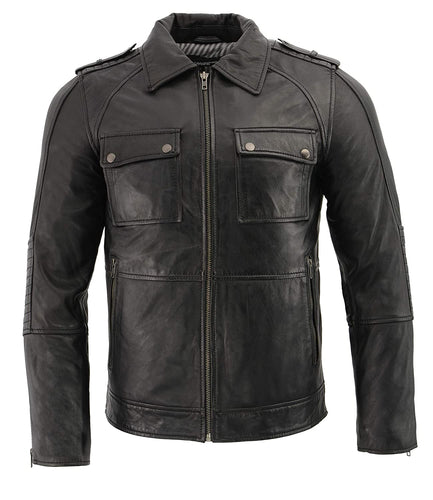 Milwaukee Leather SFM1810 Men's Black Lamsbkin Patch Pocket Leather Jacket