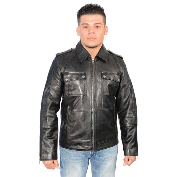 Milwaukee Leather SFM1810 Men's Black Lamsbkin Patch Pocket Leather
