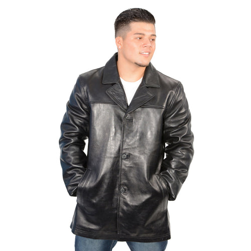 Milwaukee Leather SFM1815 Men's Black Leather Classic Four Button Car Coat