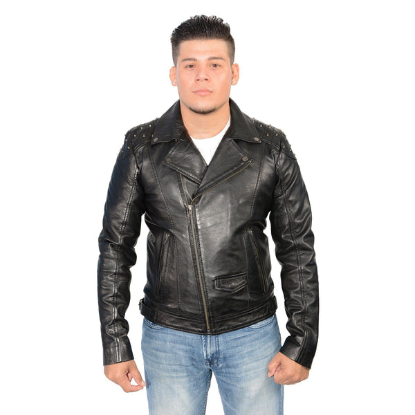 Milwaukee Leather SFM1825 Men's 'Studded' Black Leather Motorcycle Style Jacket