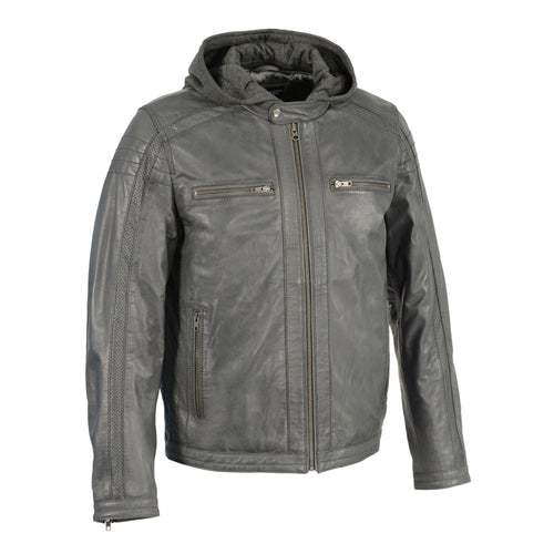 Milwaukee Leather SFM1845 Men's Anthracite Leather Jacket with Removable Hoodie