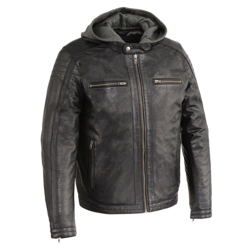 Milwaukee Leather SFM1845 Men's Black Leather Jacket with Removable Hoodie