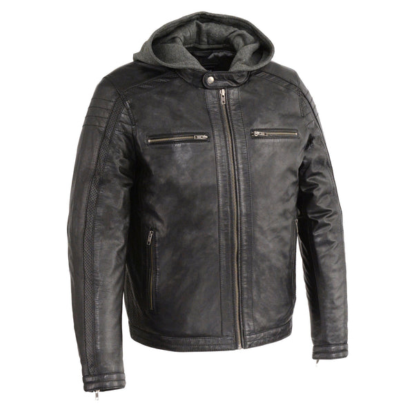 Milwaukee Leather SFM1845 Men's Black Zipper Front Leather Jacket with Removable Hood