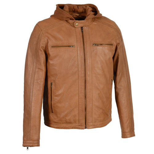 Milwaukee Leather SFM1845 Men's Saddle Leather Jacket with Removable Hoodie