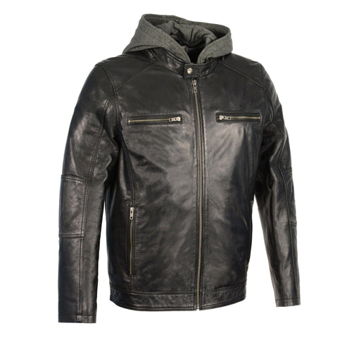 Milwaukee Leather SFM1850 Men's Black Snap Collar Leather Moto Jacket with Removable Hoodie