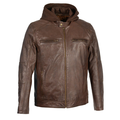 Milwaukee Leather SFM1850 Men's Broken Brown Snap Collar Leather Moto Jacket with Removable Hoodie