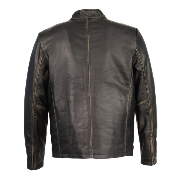 Milwaukee Leather SFM1855 Men's Black Brown Leather Moto Racer Jacket