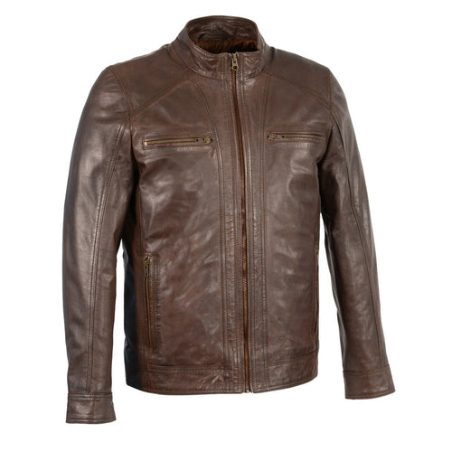 Milwaukee Leather SFM1860 Men's Broken Brown Leather Jacket with Front Zipper Closure
