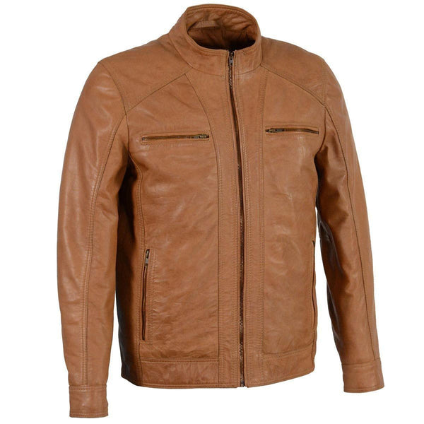 Milwaukee Leather SFM1860 Men's Lambskin Saddle Moto Leather Jacket