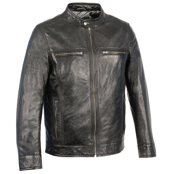 Milwaukee Leather SFM1865 Men's Black Classic Leather Jacket with Zipper Closure