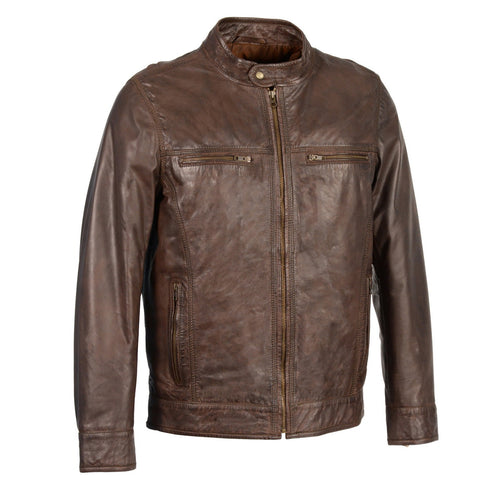Milwaukee Leather SFM1865 Mens Broken Brown Leather Jacket with Front Zipper Closure