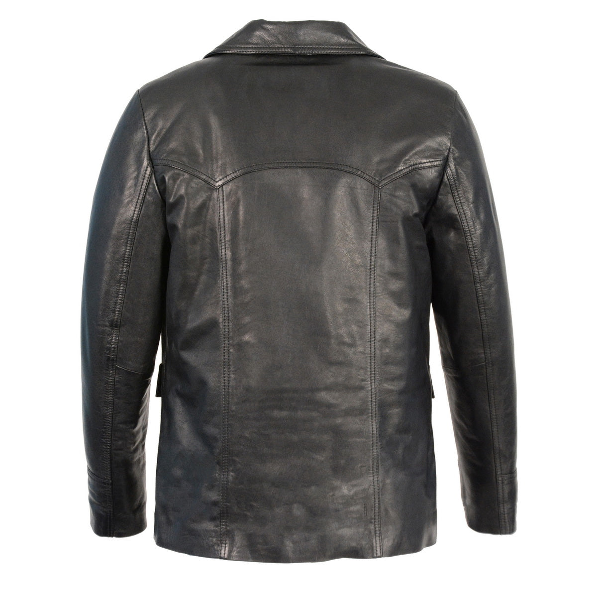 Milwaukee Leather SFM1870  Men's Black Button Front  Leather Car Coat