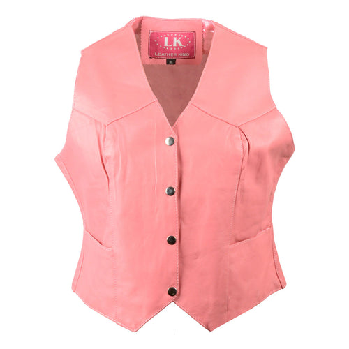 Leather King SH1227 Pink Ladies Classic Leather Four Snap Vest