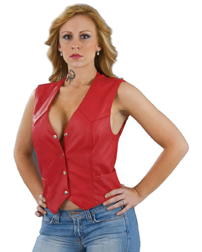 Leather King SH1227 Red Ladies Classic Leather Four Snap Vest