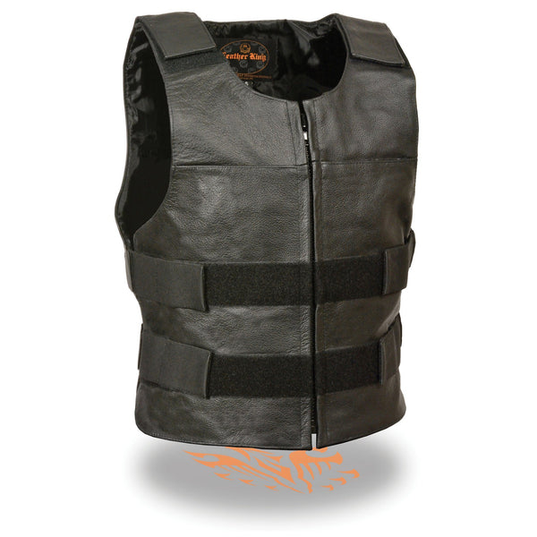 Milwaukee Leather SH1367Z Men's Black 'Replica Bullet Proof Style'Leather Zipper Vest