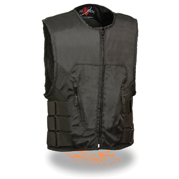Milwaukee Leather SH1458 Men's Black Textile SWAT Style Biker Vest with Armor