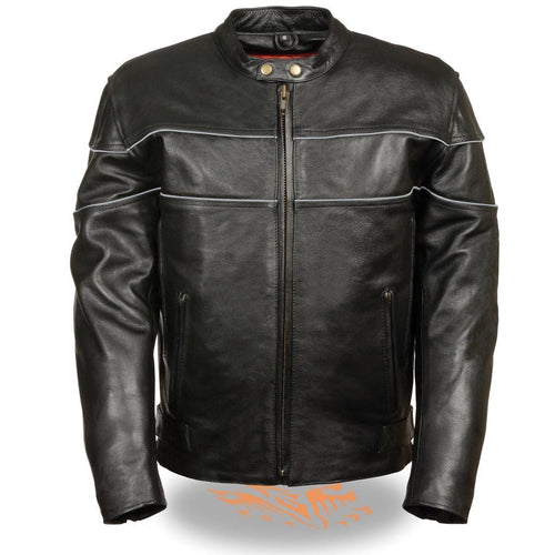 Milwaukee Leather SH1785 Men's Black Leather Jacket with Side Stretch and Reflective Piping