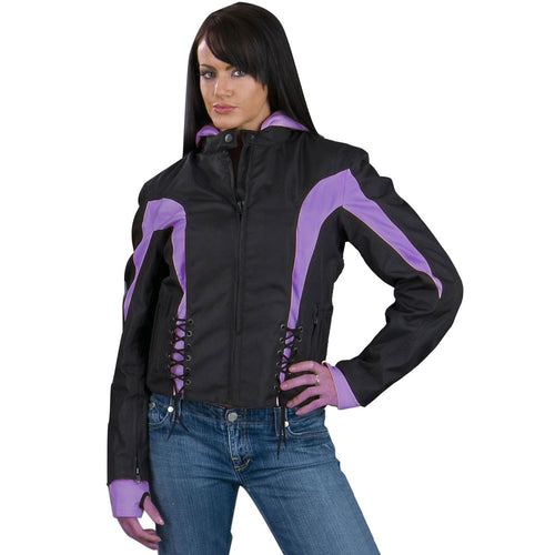 NexGen Ladies SH1906 Black and Purple Textile Racer Jacket with Hoodie