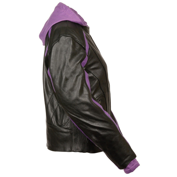 Milwaukee Leather SH1951 Women's Striped Black and Purple Leather Jacket with Zip-Out Hoodie