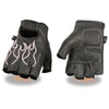 Xelement XG198 Men's 'Flamed' Embroidered Fingerless Black and Pink Leather Gloves