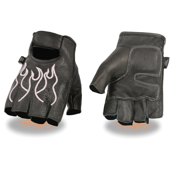 Milwaukee Leather SH198 Women's Black and Pink Flamed Embroidered Fingerless Leather Gloves
