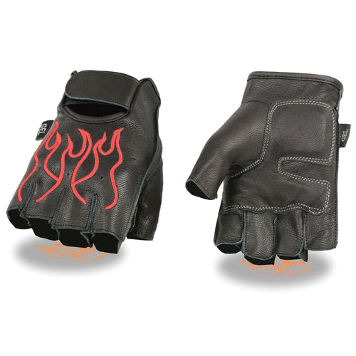 Xelement XG198 Men's 'Flamed' Embroidered Fingerless Black and Red Leather Gloves