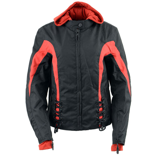 NexGen Ladies SH1998 Red and Black Textile Racer Jacket with Removable Hoodie