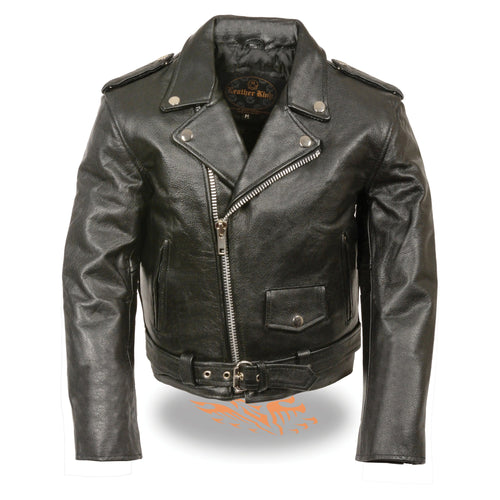 Milwaukee Leather SH2010 Toddlers Black Classic Motorcycle Leather Jacket