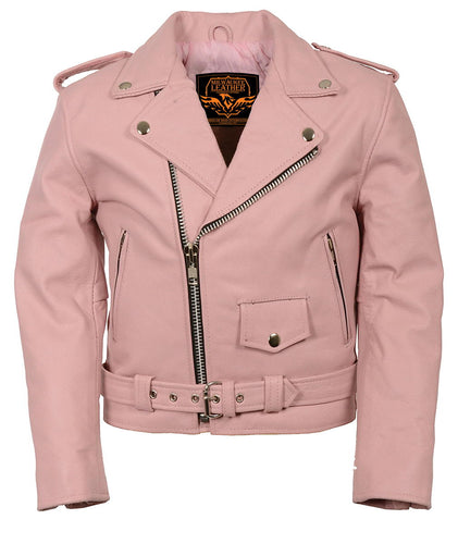 Milwaukee Leather SH2010 Girls Classic Style Pink Leather Motorcycle Jacket