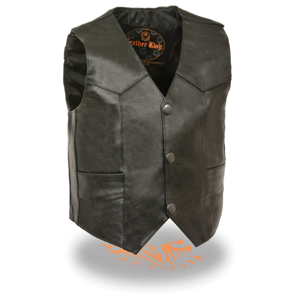 Milwaukee Leather SH2011 Kids Black Classic Three Snap Leather Leather Vest