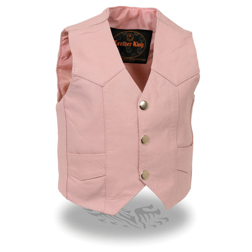 Milwaukee Leather SH2011PINK Girls Pink Three Snap Leather Vest