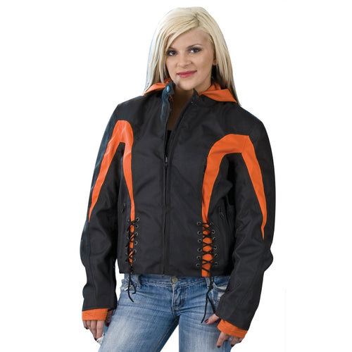 NexGen Ladies SH2039 Black and Orange Textile Racer Jacket with Fleece Hoodie