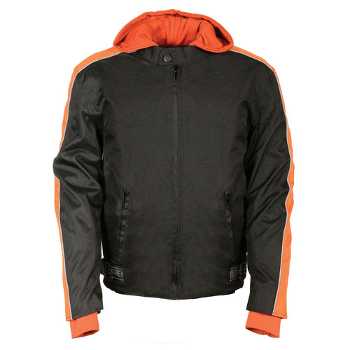 NexGen Men's SH2035 Black and Orange Nylon Racer Jacket with Hoodie