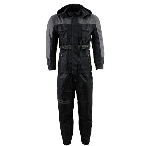 NexGen Men's SH2049 Black and Grey Hooded Water Proof Armored Rain Suit
