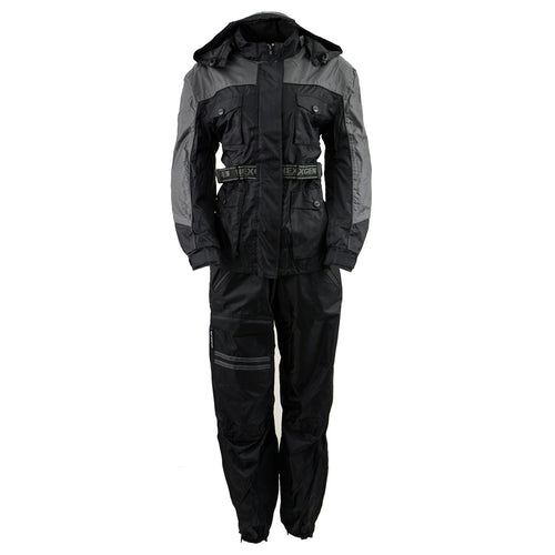 NexGen Ladies SH204901 Black and Grey Armored and Hooded Water Proof Rain Suit