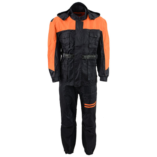 NexGen Men's SH2051 Black and Orange Hooded Water Proof Armored Rain Suit