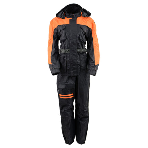 NexGen Ladies SH205101 Black and Orange Armored Hooded Water Proof Rain Suit