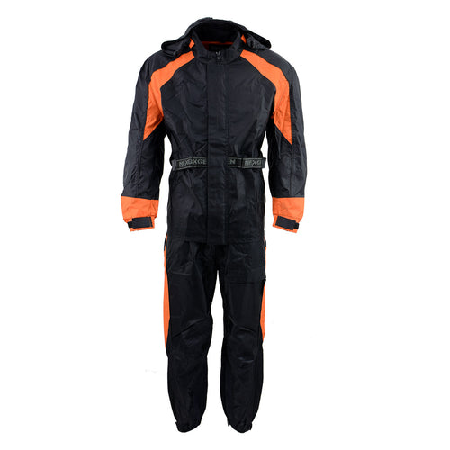 NexGen Men's SH2052 Black and Orange Hooded Water Proof Armored Rain Suit