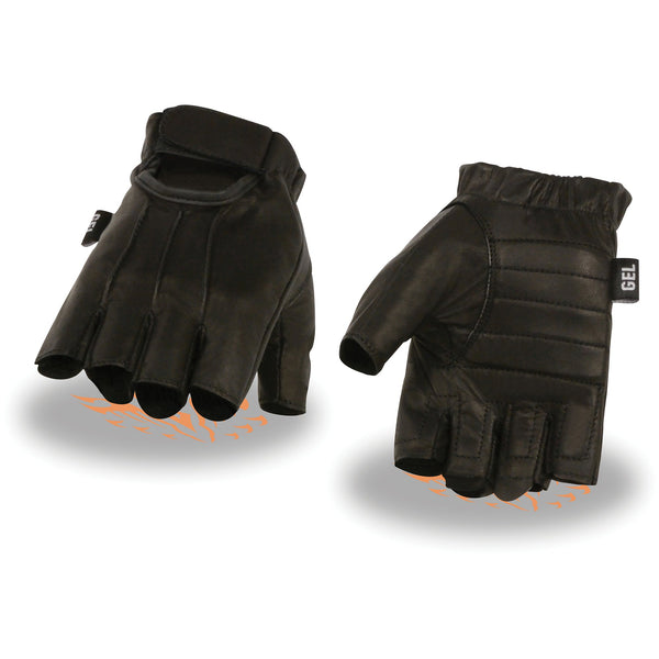 Milwaukee Leather SH206 Men's Black Welted Leather Fingerless Gloves with Gel Palm