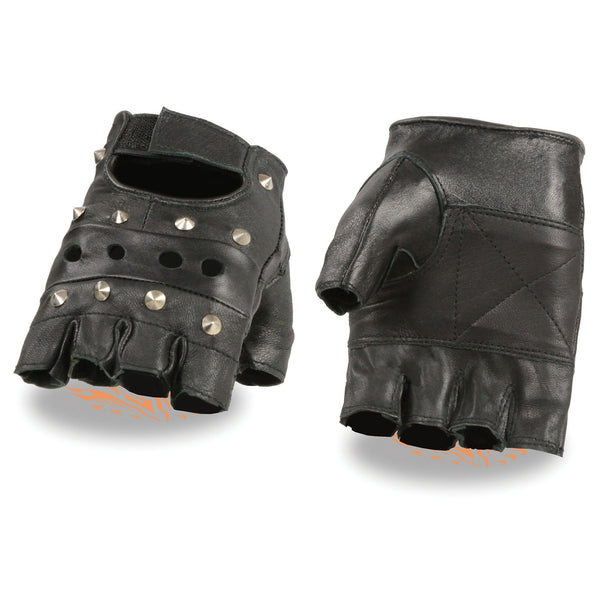 Milwaukee Leather SH211 Men's 'Studded' Black Leather Fingerless Glove with Padded Palms