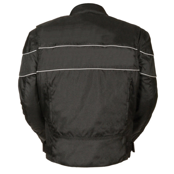 NexGen SH212102T Men's Tall Sizes Black Textile Vented Moto Jacket with Reflective Piping